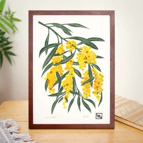 'Cascade'- Golden Wattle Linoprint