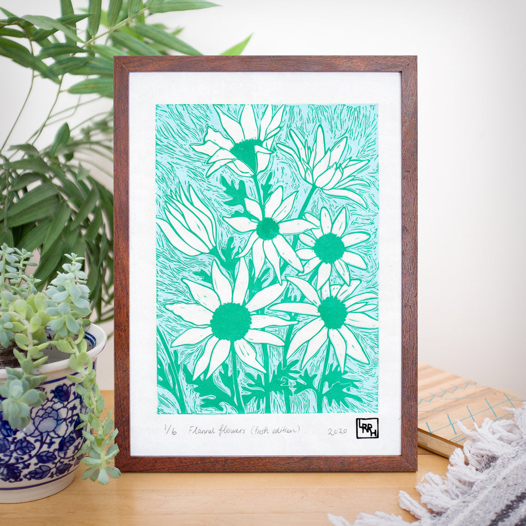 Flannel Flowers (Fresh Edition) - Limited Edition Linocut print