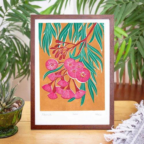 'Flourish' Linoprint, Australian native flowers, original artwork, handmade in Sydney