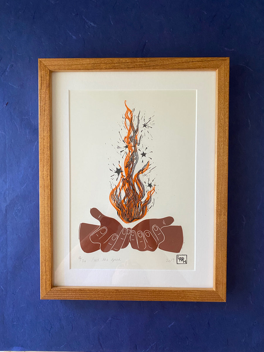 Framed Feed the Spark Linoprint - SALE