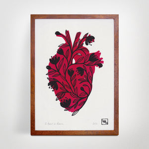 Flowers and heart linoprint, original artwork, handmade in Sydney