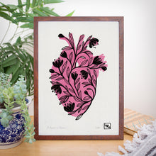 Load image into Gallery viewer, Flowers and heart linoprint, original artwork, handmade in Sydney