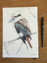 Load image into Gallery viewer, Kookaburra portrait, kookaburra art print, Australian gift, native bird painting, Australian souvenir, nature art print, nature wall decor
