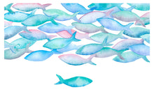 Load image into Gallery viewer, Watercolour fish art| kids room decor idea | nursery blue decor | cubicle decor | nautical art bedroom | teen girl room decor | fish print