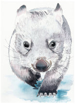 Load image into Gallery viewer, Baby Wombat - Watercolour Fine Art Print