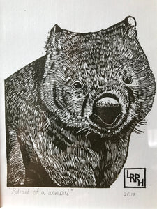 Portrait of a Wombat - Linoprint