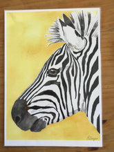 Load image into Gallery viewer, Zebra art print, zebra portrait, watercolour print, nursery decor, nursery wall art, safari artwork, African animal art, xmas gift for kids