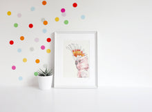 Load image into Gallery viewer, Pink cockatoo print, Australian native bird art, xmas gift for girl, Girl room wall decor, Wall art print, watercolour wall art, bird print