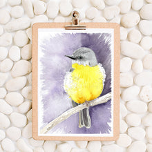 Load image into Gallery viewer, Eastern Yellow robin watercolour print, Australian bird art, bird artwork, nursery decor, above bed wall art, native bird print, bird print