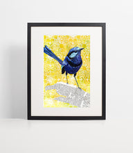 Load image into Gallery viewer, Mixed media artwork, fairy wren wall art,  art above bed, above crib decor, above bed wall art, bird mixed media, nursery decor print