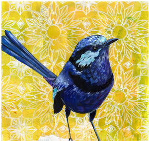 Mixed media artwork, fairy wren wall art,  art above bed, above crib decor, above bed wall art, bird mixed media, nursery decor print