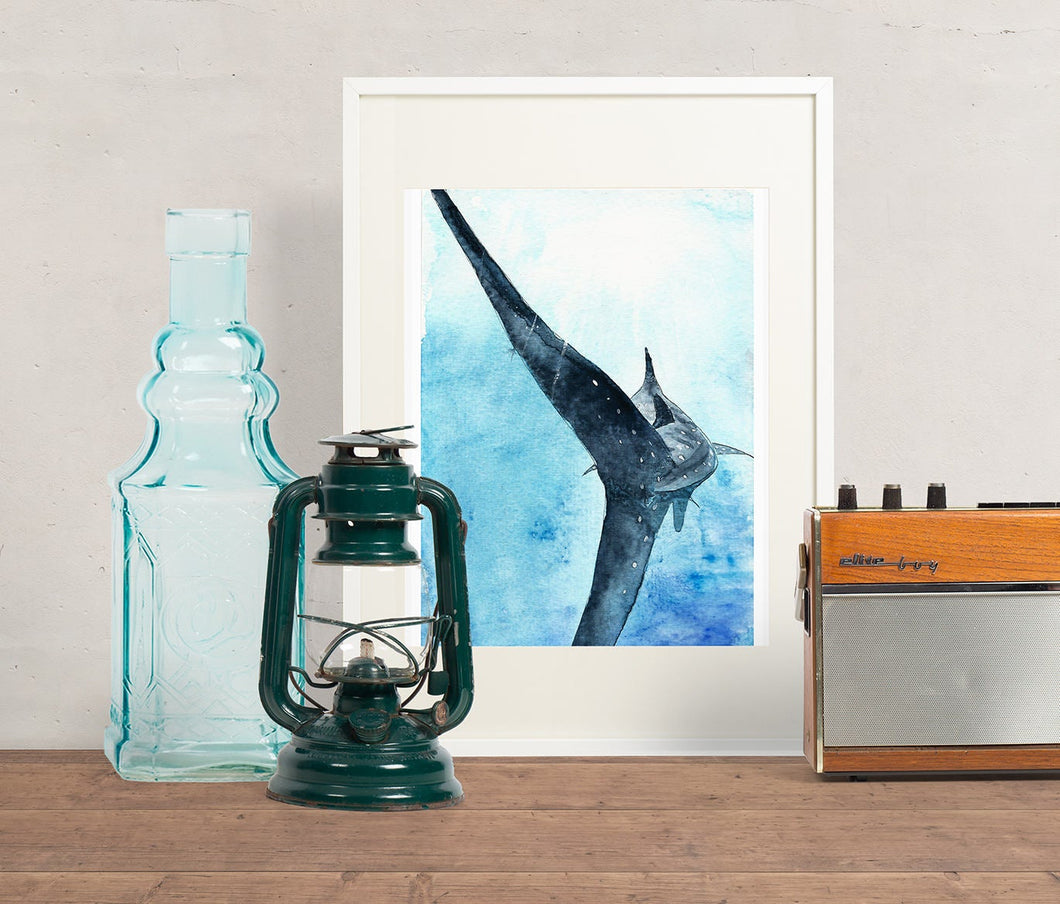 Whale shark wall art, sea life wall art, yoga room wall art, marine art print, boys room decor, kids room wall art, shark art print
