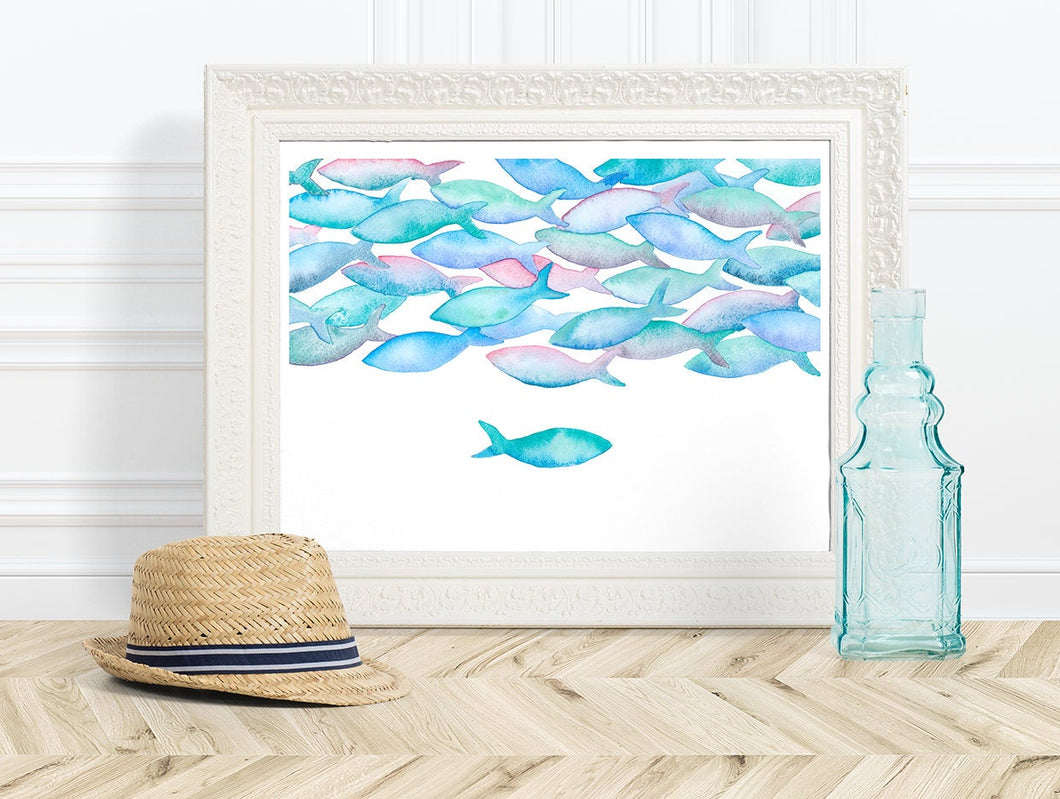 Watercolour fish art| kids room decor idea | nursery blue decor | cubicle decor | nautical art bedroom | teen girl room decor | fish print
