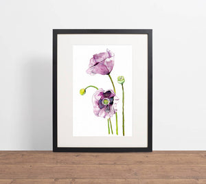 Purple poppy print, gift for mum, mother's day gift, flower print, purple floral wall art, above bed art, above crib art, yoga studio decor