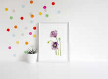 Load image into Gallery viewer, Purple poppy print, gift for mum, mother's day gift, flower print, purple floral wall art, above bed art, above crib art, yoga studio decor
