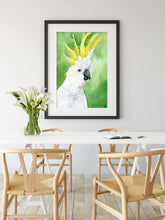 Load image into Gallery viewer, Cockatoo wall art, Australian gift, above crib art, above bed art print, above the bed decor, tropical bird art, tropical bird decor