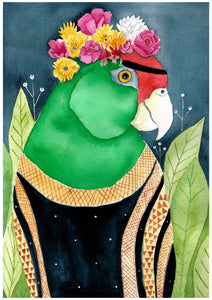 Maria Amazonian Parrot Watercolour Illustration - Fine Art Print