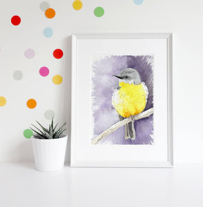 Eastern Yellow robin watercolour print, Australian bird art, bird artwork, nursery decor, above bed wall art, native bird print, bird print