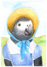 Load image into Gallery viewer, Jane Austen Grey Parrot Fine Art Print