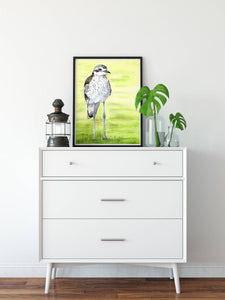 Curlew art print, Curlew wall art, Queensland bird art, Australian gift, Australian souvenir, kids room art, quirky bird art, beach bird art