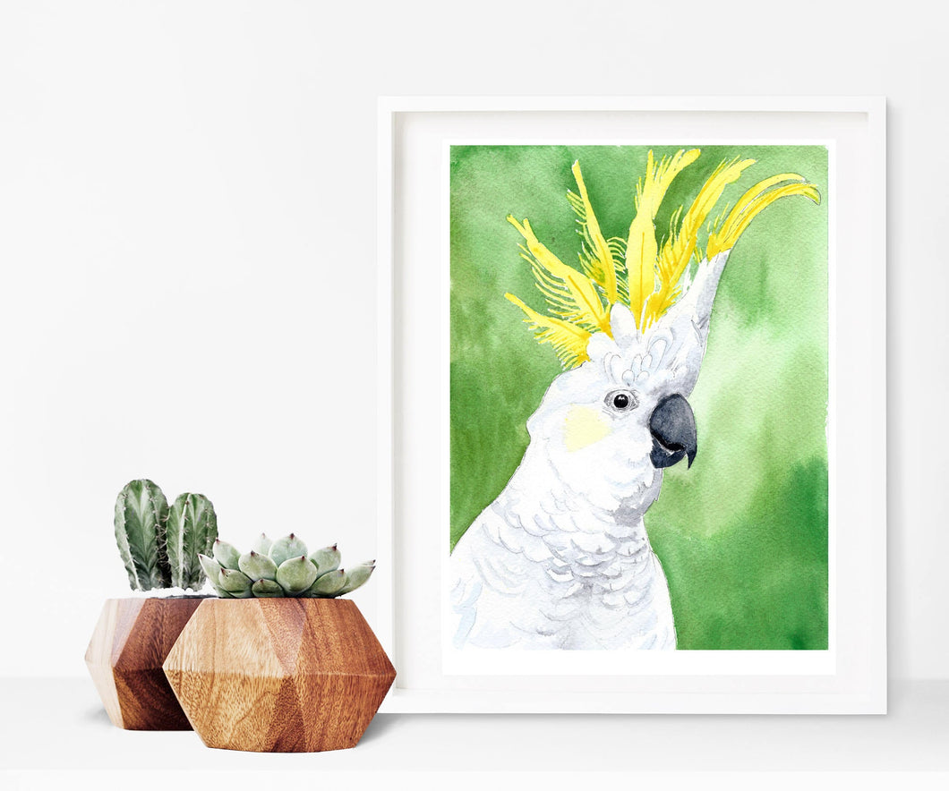Cockatoo wall art, Australian gift, above crib art, above bed art print, above the bed decor, tropical bird art, tropical bird decor