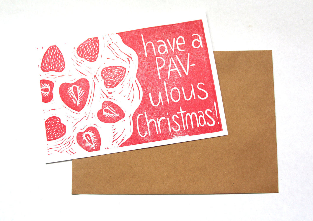 Christmas Pavlova - Linoprinted Australian Christmas Card