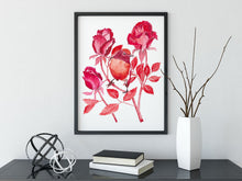 Load image into Gallery viewer, Red Robin art print, Xmas gift under 50, cosy room decor, xmas gift for her, red room wall art, robin illustration, red floral art print