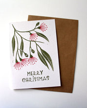 Load image into Gallery viewer, Flowering Gum Blossoms  - Linoprinted Australian Christmas card