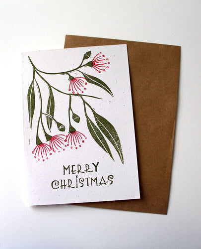 Gum Blossoms Christmas Card, Australian Xmas Card, Linoprinted Card