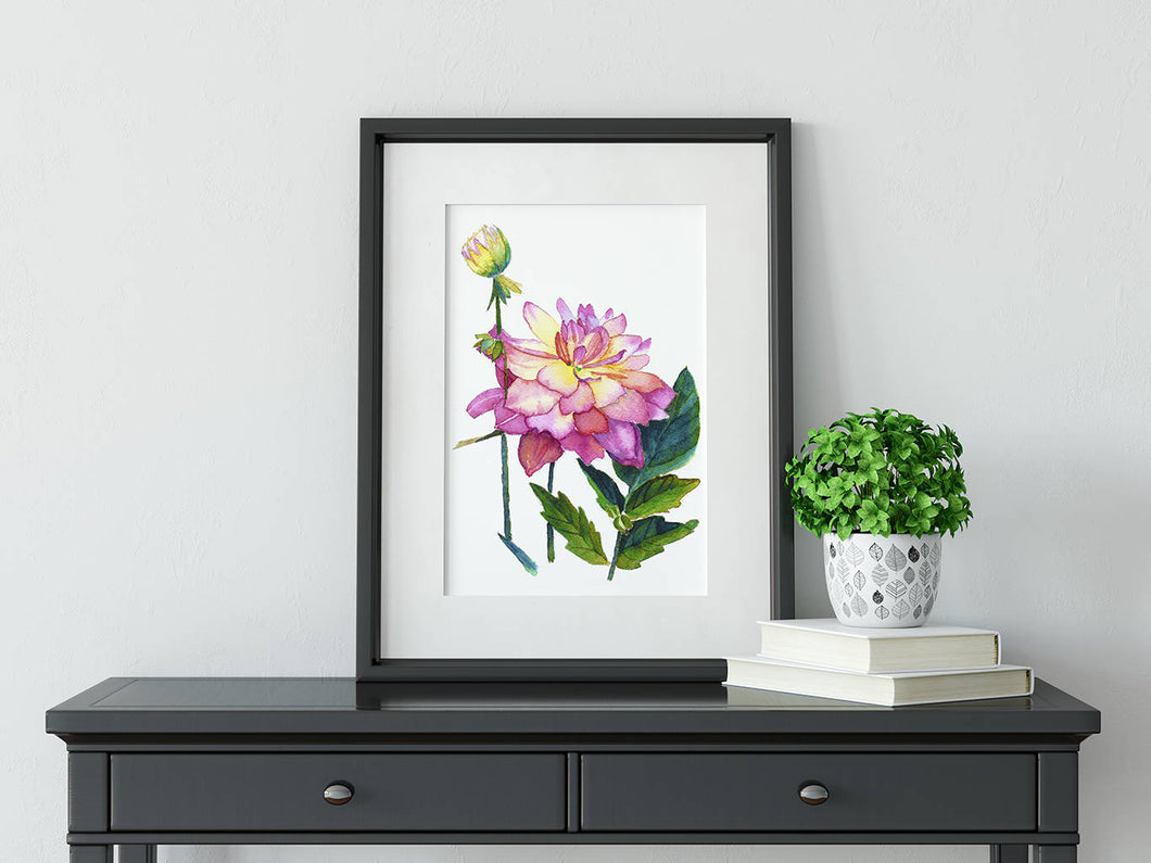 Pink peony art print, watercolour peony art, peony wall art, romantic art print, pink floral art, teen girl room art, romantic wall art