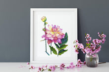 Load image into Gallery viewer, Pink peony art print, watercolour peony art, peony wall art, romantic art print, pink floral art, teen girl room art, romantic wall art
