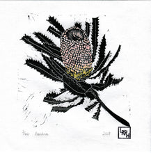 Load image into Gallery viewer, Banksia - Hand Painted Gouache Linoprint