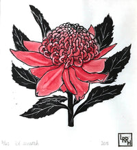 Load image into Gallery viewer, Waratah linoprint, Australia flower art, nature lover's gift, botanical print, floral wall art, original limited edition, nursery wall art