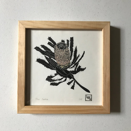Banksia - Hand Painted Gouache Linoprint