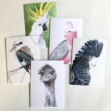 Load image into Gallery viewer, Greeting card set, Set of five Australian birds, Australian souvenir, cockatoo art, kookaburra art, watercolour bird art, galah art, emu art