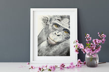 Load image into Gallery viewer, Nursery wall art, watercolour monkey, jungle wall art, watercolour art print, kids room wall art, baby shower gift, above bed  art, cute art