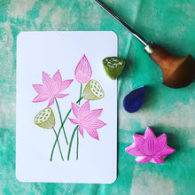 Load image into Gallery viewer, Lotus stamp set, hand carved stamp, rubber stamp, handmade stamp set, card making stamp, limited edition set, card-making set, hand carved