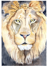 Load image into Gallery viewer, Lion art print, Nursery Safari Decor, king of the jungle, Watercolour Lion, lion painting, Leo Art, Safari Animal Print, kids room lion art