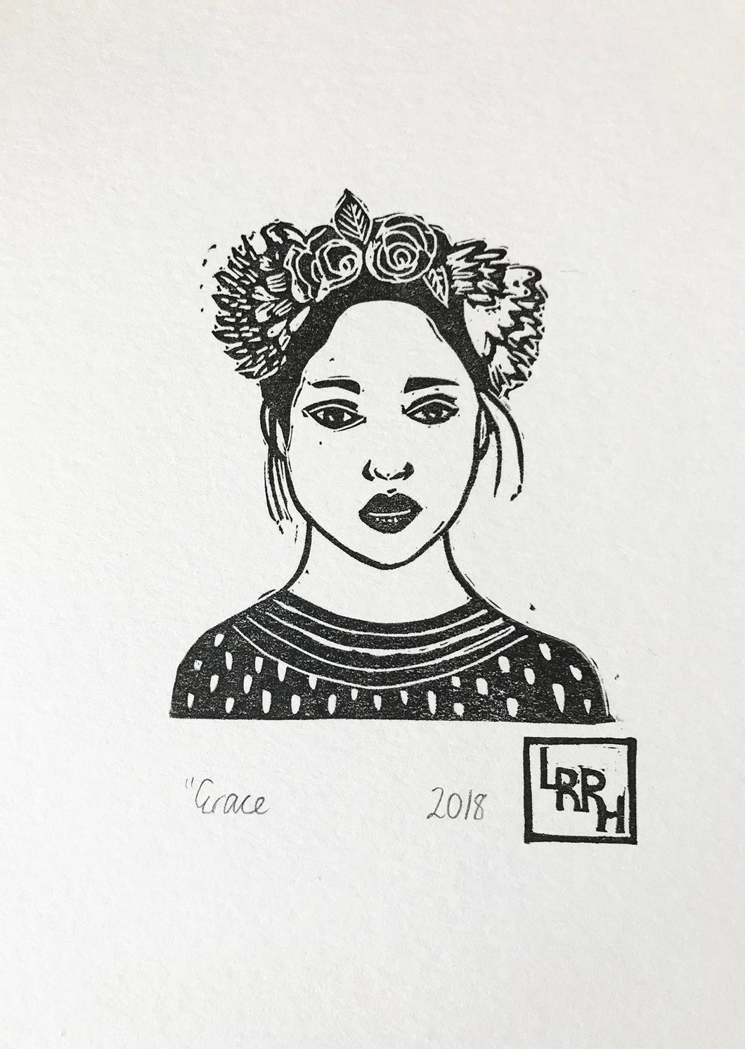 linoprint of girl in flower crown