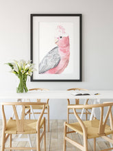Load image into Gallery viewer, Mothers Day gift pink galah wall art - home decor fine art watercolour prints inspired by Australian flora and fauna to beautify your home