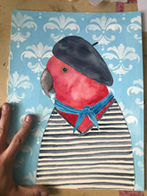 Load image into Gallery viewer, French parrot Fine art print - quirky bird illustration