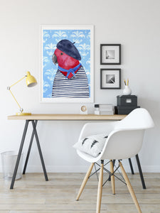 French parrot Fine art print - quirky bird illustration