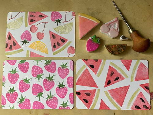 Fruit salad - hand carved rubber stamp set