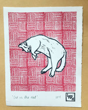 Load image into Gallery viewer, Cat on the Mat - Original Linoprint