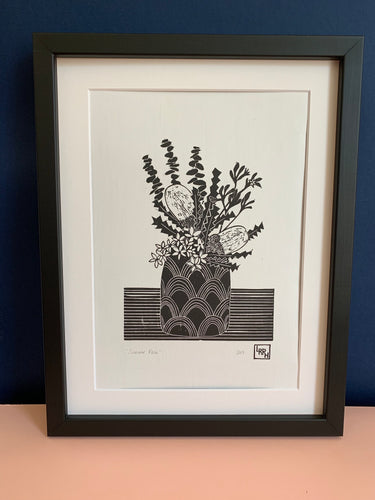 Summer Vase - original linoprint