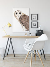 Load image into Gallery viewer, Watercolor owl art, owl print, owl painting, spirit animal art, Australian bird art, masked owl print, for the nature lover, woodland art
