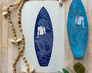 Boho mermaid surfboard design Linocut print, beach house wall art home decor - gift for a surfer or oceanlover