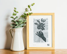 Load image into Gallery viewer, Linocut flower dictionary art print - handmade whimsical linoprint floral bouquet and butterfly, gift for mum, girlfriend, teen girl