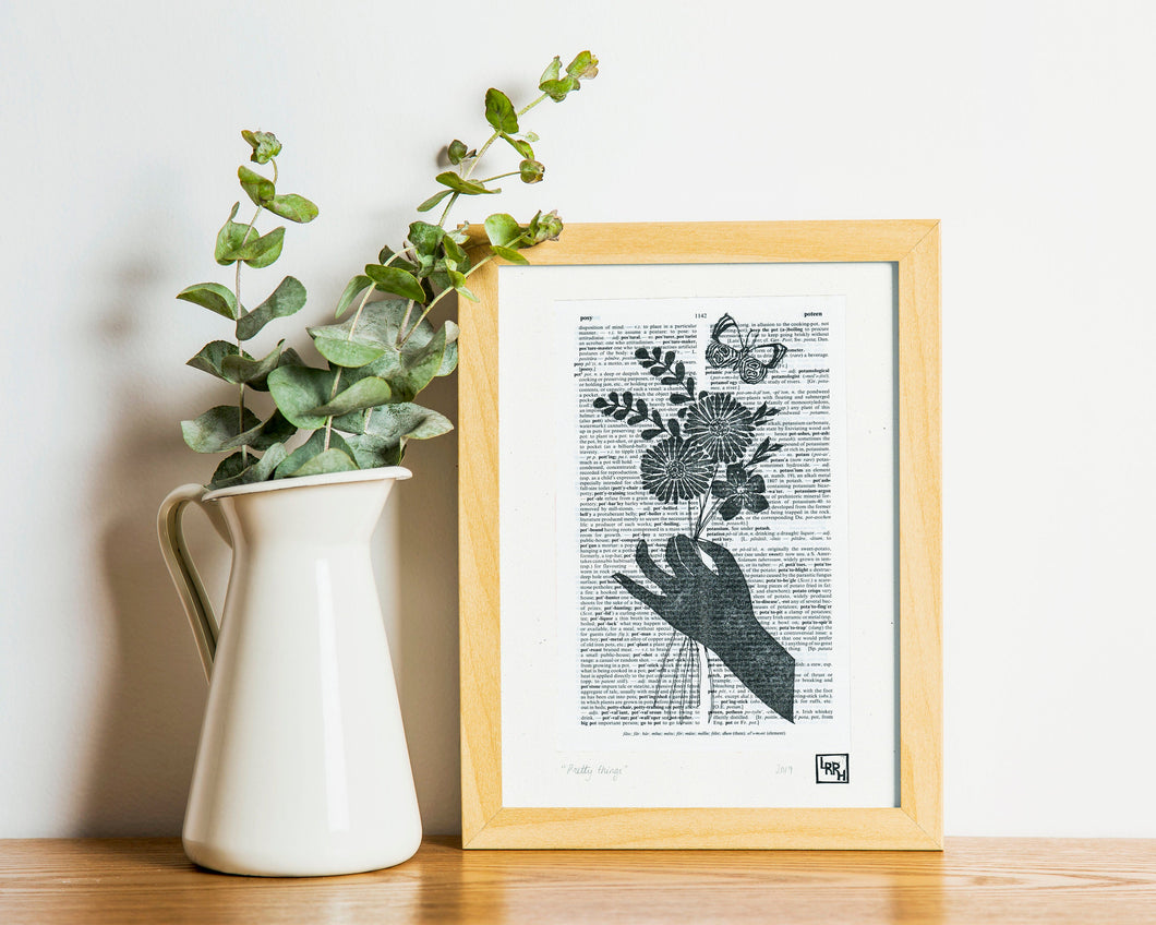 Linocut flower dictionary art print - handmade whimsical linoprint floral bouquet and butterfly, gift for mum, girlfriend, teen girl