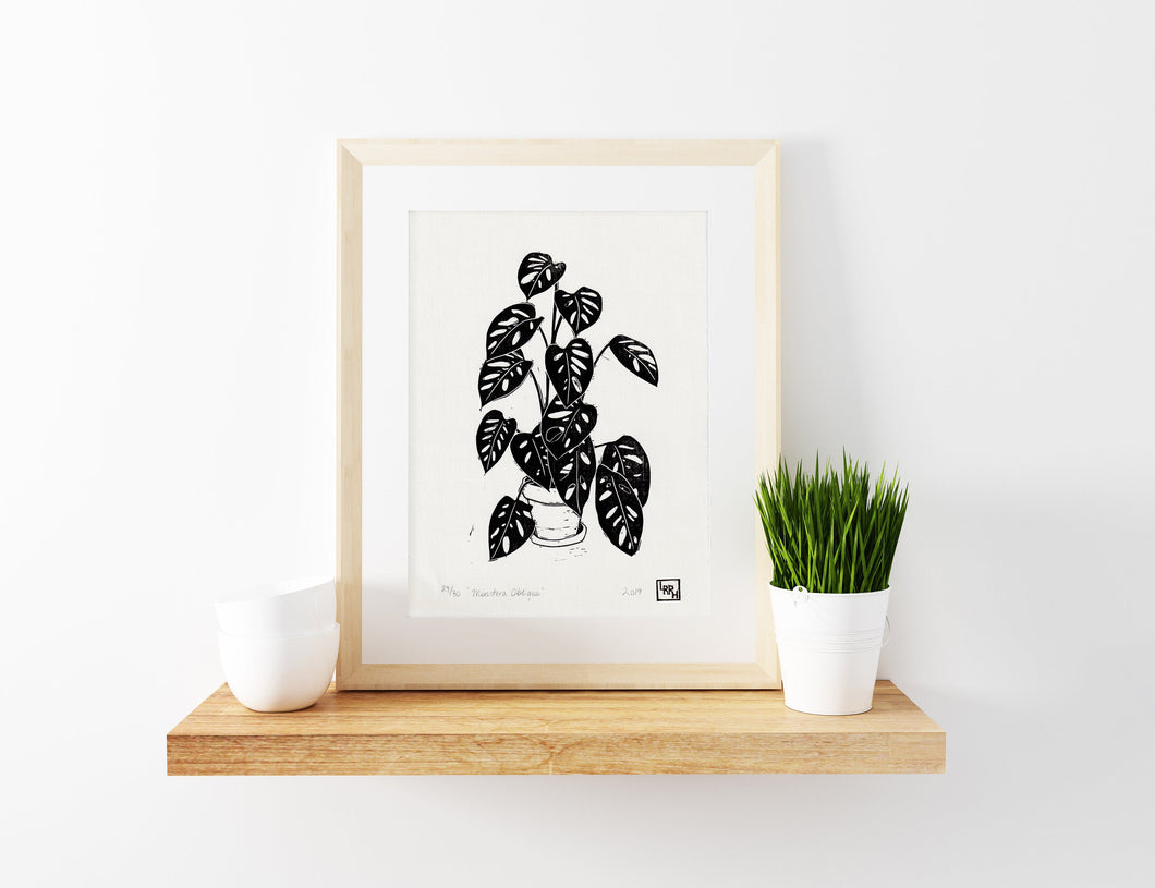 Monstera - limited edition linocut print